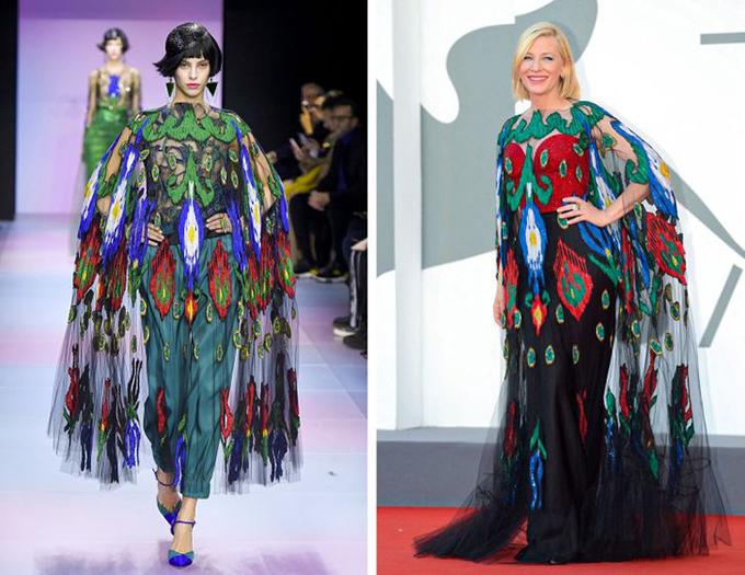 Giorgio Armani, Cate Blanchett Bộ váy lộng lẫy này không cần thêm bất kỳ phụ kiện nào, trong khi mái tóc vàng của Cate cân bằng hoàn hảo với phần dưới tối của bộ trang phục.