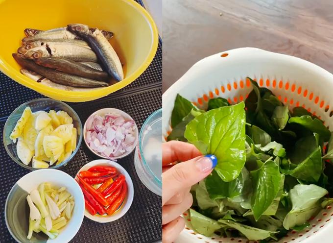 Vợ chồng Tóc Tiên ăn cá kho với loại rau khiến nhiều người khóc thét - 1