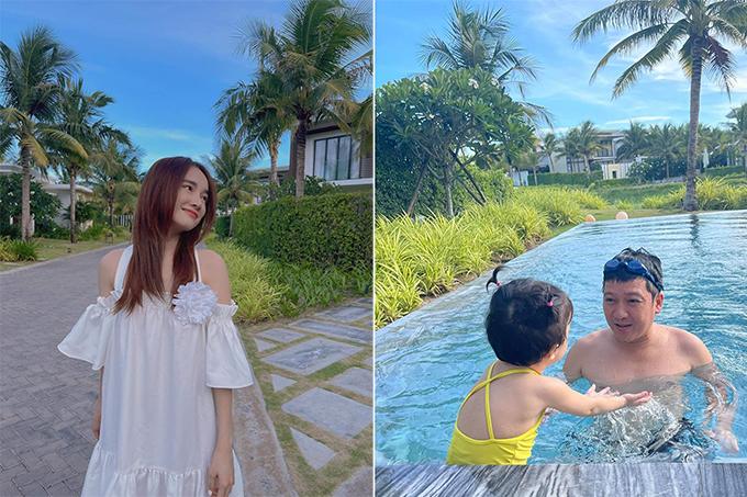Trường Giang khoe ảnh đi trốn dịch cùng con gái. Nhà Nhã Phương - Trường Giang lựa chọn khu resort quen thuộc trong giới sao tại Vũng Tàu. Cặp đôi nổi tiếng và công chúa nhỏ đã có những phút giây thư thái, đi dạo và bơi lội trong bể bơi riêng tư.