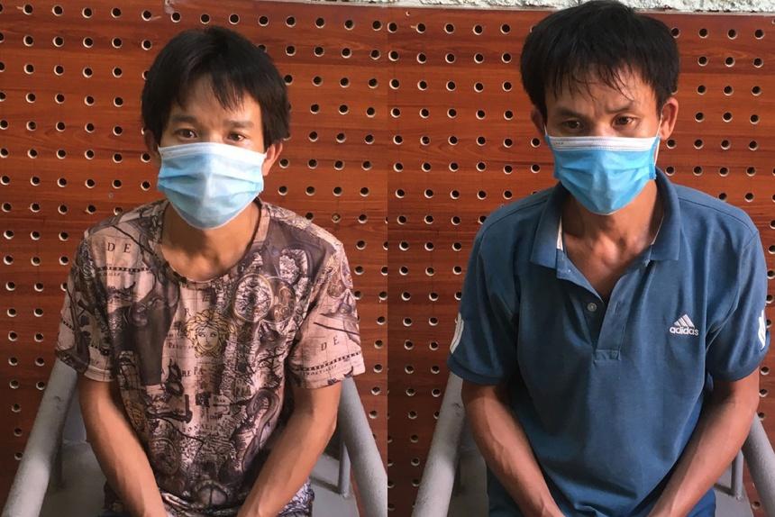 Nguyễn Văn Hoàng (phải) và Nguyễn Văn Hiến. Ảnh:Công an Bắc Giang.