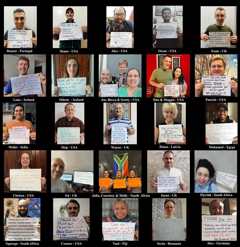 Người nước ngoài ở Hà Nội gửi lời cảm ơn các bác sĩ, y tá, quân nhân, cảnh sát và tình nguyện viên. Ảnh: Wayne Worrell.