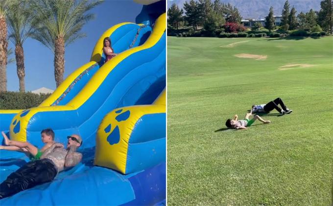 Kourtney cùng bạn trai mới - ca sĩTravis Barker - và ba người con của cô chơi trượt nước và vui đùa trên sân golf.