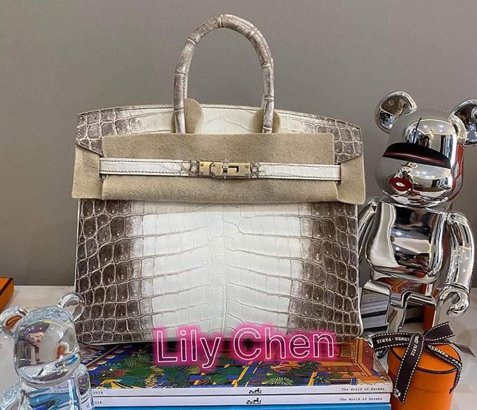 Túi da cá sấu bạch tạng bạn trai đại gia mới mua tặng Lily Chen.