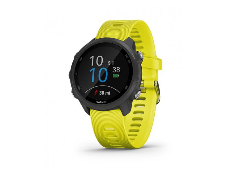 Garmin Forerunner 245 là dòng đồng hồ thông minh GPS dành cho chạy bộ với các tính năng luyện tập nâng cao, bao gồm đánh giá trạng thái tập luyện hiện tại của bạn, nhận các kế hoạch luyện tập thích ứng miễn phí từ Garmin Coach hoặc tạo các bài tập tùy chỉnh của riêng bạn tại Garmin Connect, cung cấp ứng dụng theo dõi chạy bộ (khoảng thời gian tiếp xúc với mặt đất, độ dài bước nhảy, tỉ lệ chiều dọc...) Thời lượng pin: lên đến 7 ngày trong chế độ đồng hồ, 24 giờ ở chế độ GPS.  Sản phẩm có các màu vàng, xám, bảo hành 12 tháng. Giá gốc 7,79 triệu đồng. Nhập mã F245T6 được giảm còn 6,29 triệu đồng.