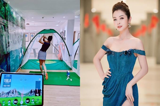 Jennifer Phạm luyện chơi golf tại nhà.