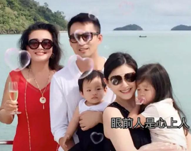 Vợ chồng cặp sao và mẹ chồng, bà Trương Lan.