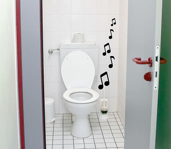 Cũng ở Nhật Bản, bạn có thể nghe nhạc từ toilet. Những phụ nữ Nhật Bản trước đây cảm thấy xấu hổ với những âm thanh gây đỏ mặt trong nhà vệ sinh có thể bị người ngoài nghe thấy. Do đó, thiết bị này ra này ra đời, giả lập âm thanh xả nước, lấn át đi tiếng động khác nhưng trên thực tế không hề có nước được xả ra.