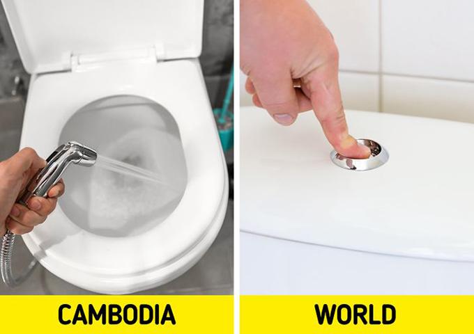 CampuchiaNhà vệ sinh công cộng ở Campuchia khá khó kiếm. Hệ thống thoát nước cũng không thể phân huỷ giấy vệ sinh nên người sử dụng cần phải bỏ giấy vệ sinh đã qua sử dụng vào thùng rác. Ngoài ra, nhà vệ sinh thường có vòi xịt để tắm rửa.