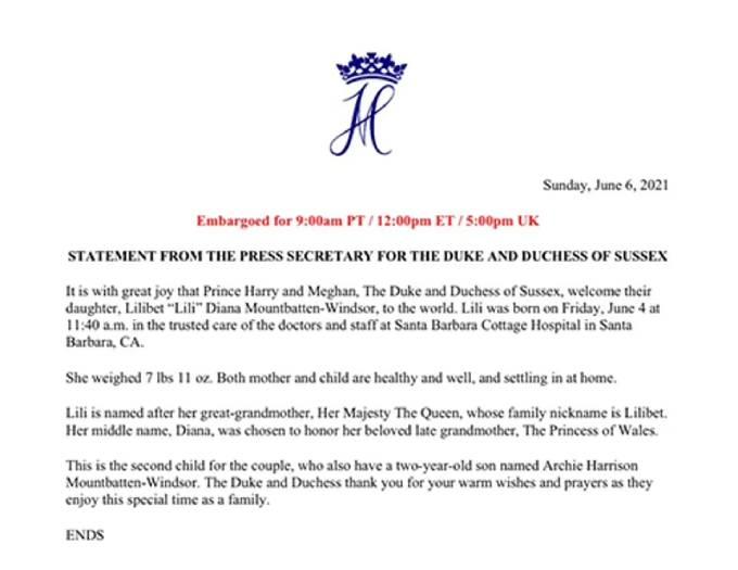 Thông cáo báo chí của nhà Sussex về sự chào đời của con gái Lilibet trưa 4/6.