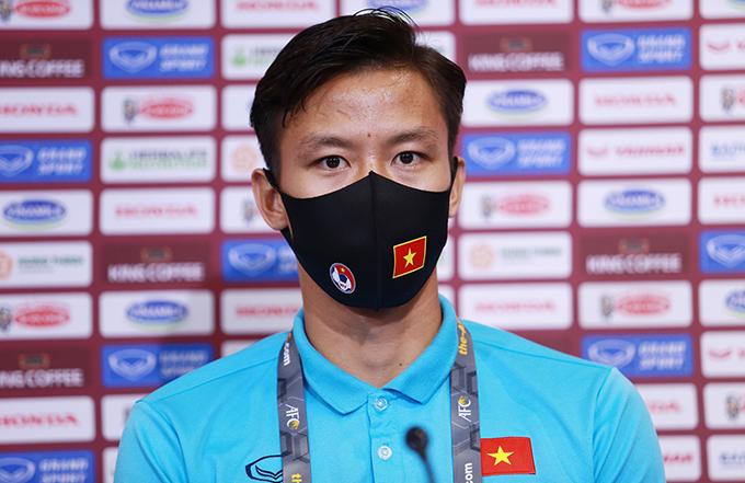 Quế Ngọc Hải trong họp báo trước trận đấu với Indonesia. Ảnh: Lâm Thoả.