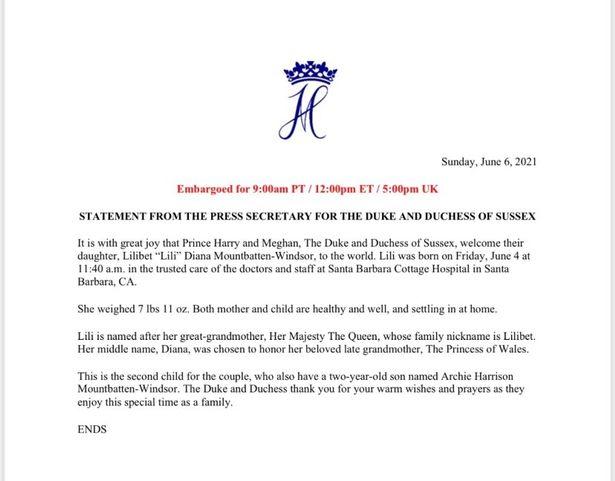 Thông cáo báo chí của nhà Sussex về sự ra đời của con gái, bé Lilibet Lili Diana Mountbatten-Windsor.