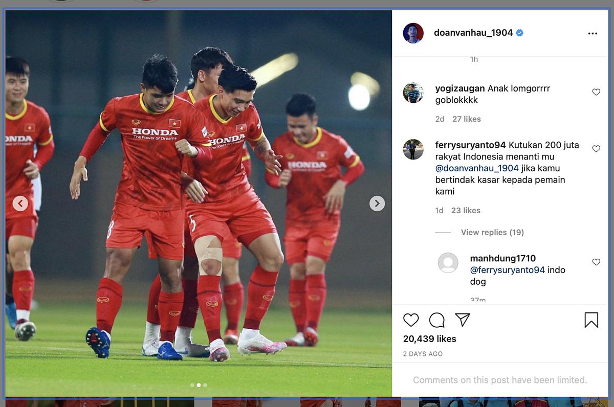 bài đăng trên Instagram Đoàn Văn Hậu.