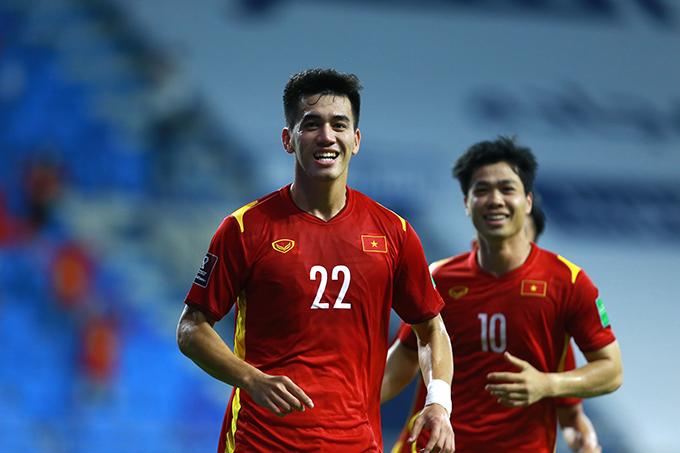 Tiến Linh mừng bàn mở tỷ số cho tuyển Việt Nam. Ảnh: Lâm Thoả.