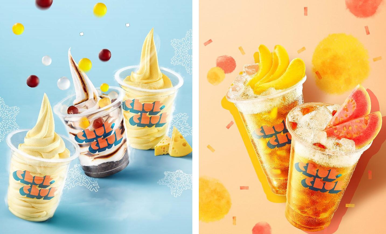 Hình ảnh các dòng sản phẩm kem tươi và trà đặc pha của thương hiệu Chuk Chuk