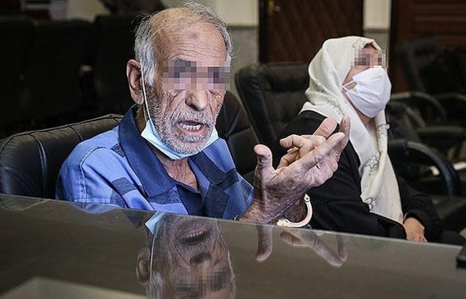 Vợ chồng Akbar (81 tuổi) và Iran Khorramdin (74 tuổi) thú nhận giết cả con trai, con gái và con rể tại toà án Tehran. Ảnh: