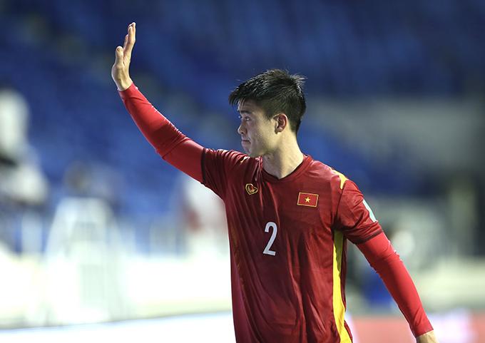 Duy Mạnh rời sân ở cuối hiệp hai sau khi tuyển Việt Nam đã dẫn 4 bàn. Ảnh: Lâm Thoả.