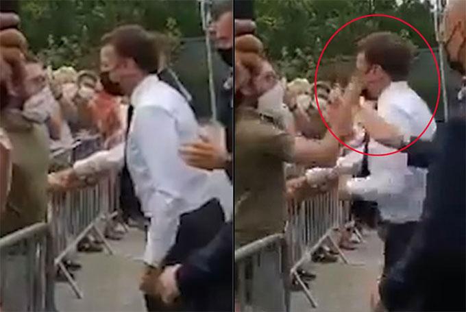 Khoảnh khắc Tổng thống Pháp bị tát hôm 8/6 ở Drome. Ảnh cắt từ video.