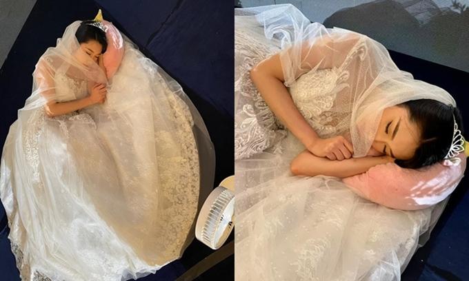 Thúy Ngân mặc nguyên váy cưới, ngủ trên phim trường.