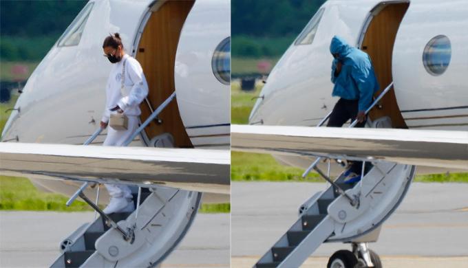 Kanye West thuê phi cơ riêng đưa anh và Irina Shayk về Mỹ.