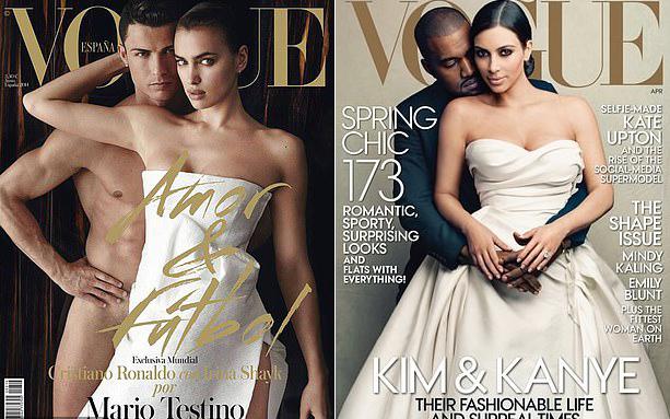 Irina Shayk lên bìa tạp chí Vogue cùng C. Ronaldo (trái) vào năm 2012, hai năm trước khi Kim Kardashian và Kanye West gây xôn xao trên bìa tạp chí này ở Mỹ.