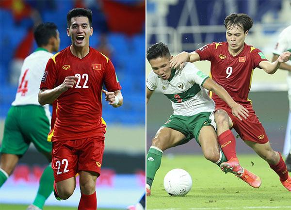 Tiến Linh (trái) và Văn Toàn đều thi đấu ấn tượng trong trận thắng 4-0 trước Indonesia. Ảnh: Lâm Thỏa.