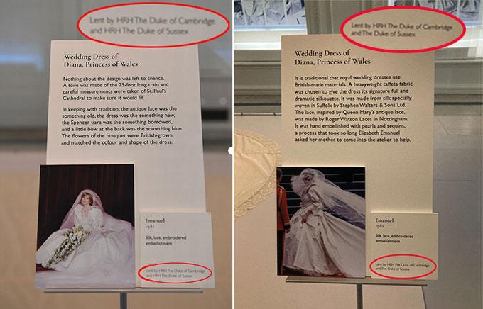 Tấm biển bên cạnh chiếc váy cưới của cố Công nương Diana trước (trái) và sau (phải) khi được chỉnh sửa. Ảnh: UK Press.