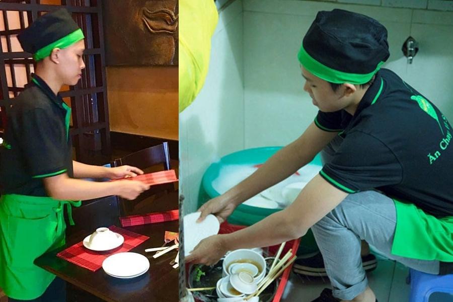 Ngoài giờ học hay đi diễn, thỉnh thoảng Hồ Văn Cường đến quán chay của mẹ nuôi phụ rửa chén, bưng bê.