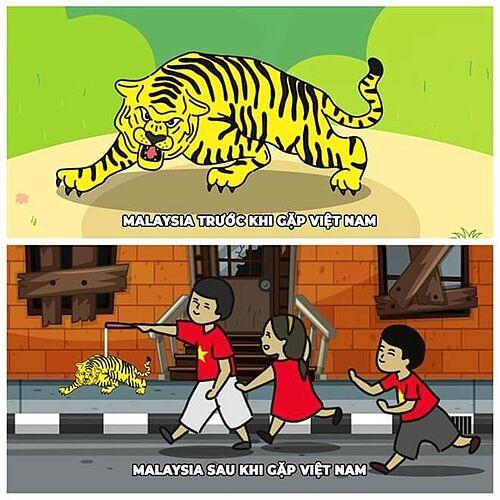 Hổ Malaysia trước và sau trận đấu.