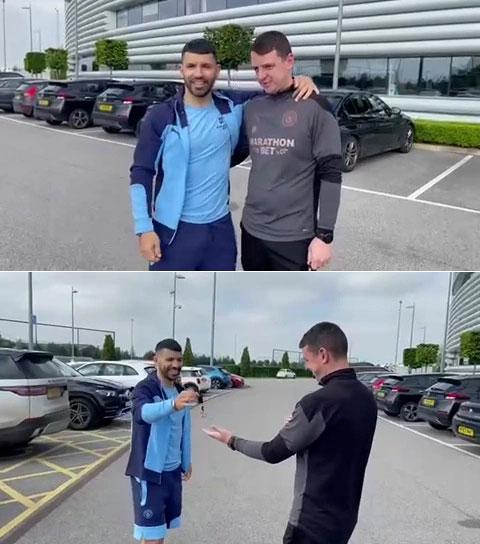 Aguero lái xe rồi trao chìa khóa tận tay Ally trước khi rời Man City cuối tháng 5. Ảnh: The Sun.
