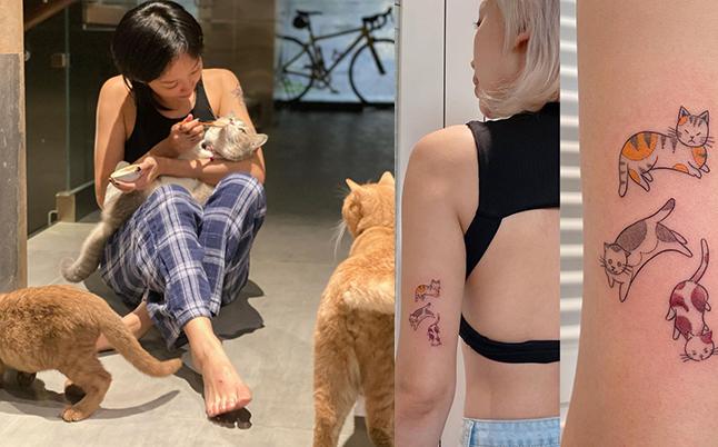 Hình xăm mới nhất của Tóc Tiên thể hiện tình yêu với 3 chú mèo cưng.