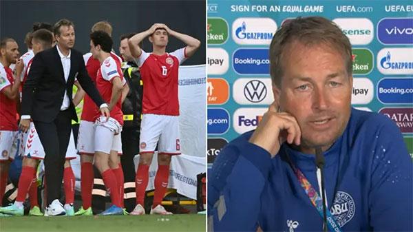 HLV tuyển Đan Mạch khen ngợi các học trò sau trận đấu dù thua trước Phần Lan. Ảnh: SBB.