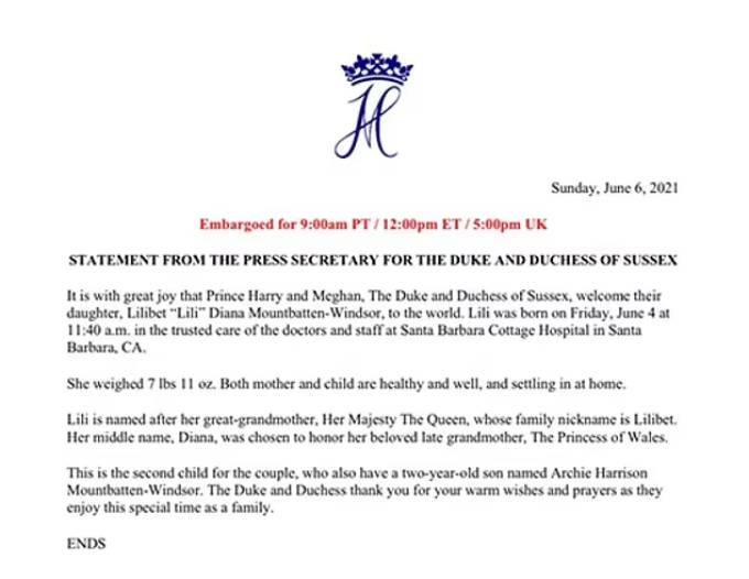Thông báo của nhà Sussex về sự chào đời của con gái Lilibet hôm 6/6. Ảnh: Mail.