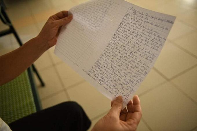 Lá thư 2 trang giấy đầy ắp cảm xúc của bà Ngư gửi đến các y bác sĩ.