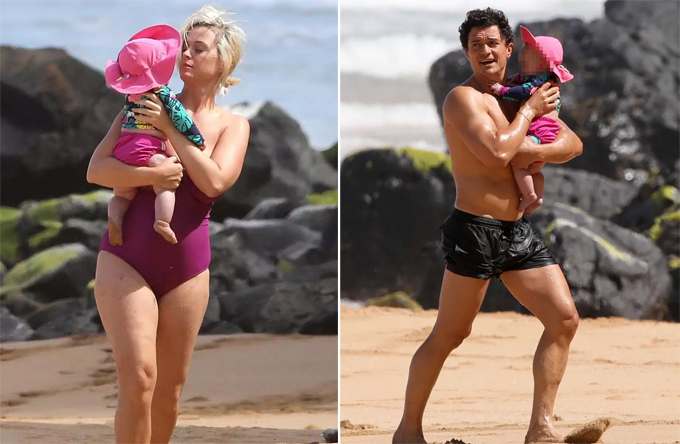 Cặp sao và con gái đùa nghịch với sóng biển ở Hawaii.