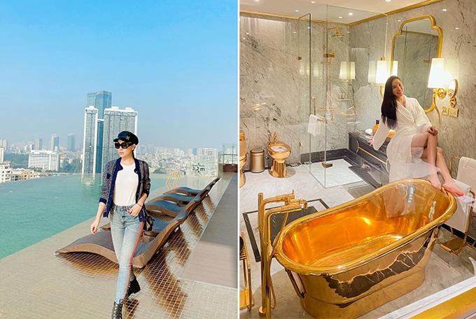 Lần khác, khi ra Hà Nội công tác, Quỳnh Thư chọn nghỉ tại khách sạn Dolce by Wyndham Hanoi Golden Lake. Nơi đây nổi tiếng bởi thiết kế dát vàng gần như toàn bộ nội thất. Người đẹp choáng ngợp, tạo dáng trong nhà tắm lấp lánh ánh vàng.
