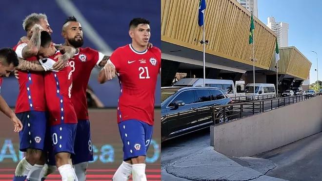 Các tuyển thủ Chile (trái) và khách sạn nơi đóng quân của đội. Ảnh: Marca.