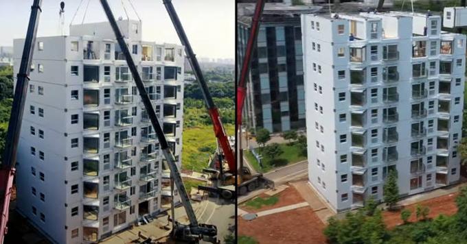 Quá trình lắp ráp chung cư 10 tầng ở thành phố Trường Sa chỉ diễn ra trong chưa đầy 29 giờ. Ảnh: Broad Group.