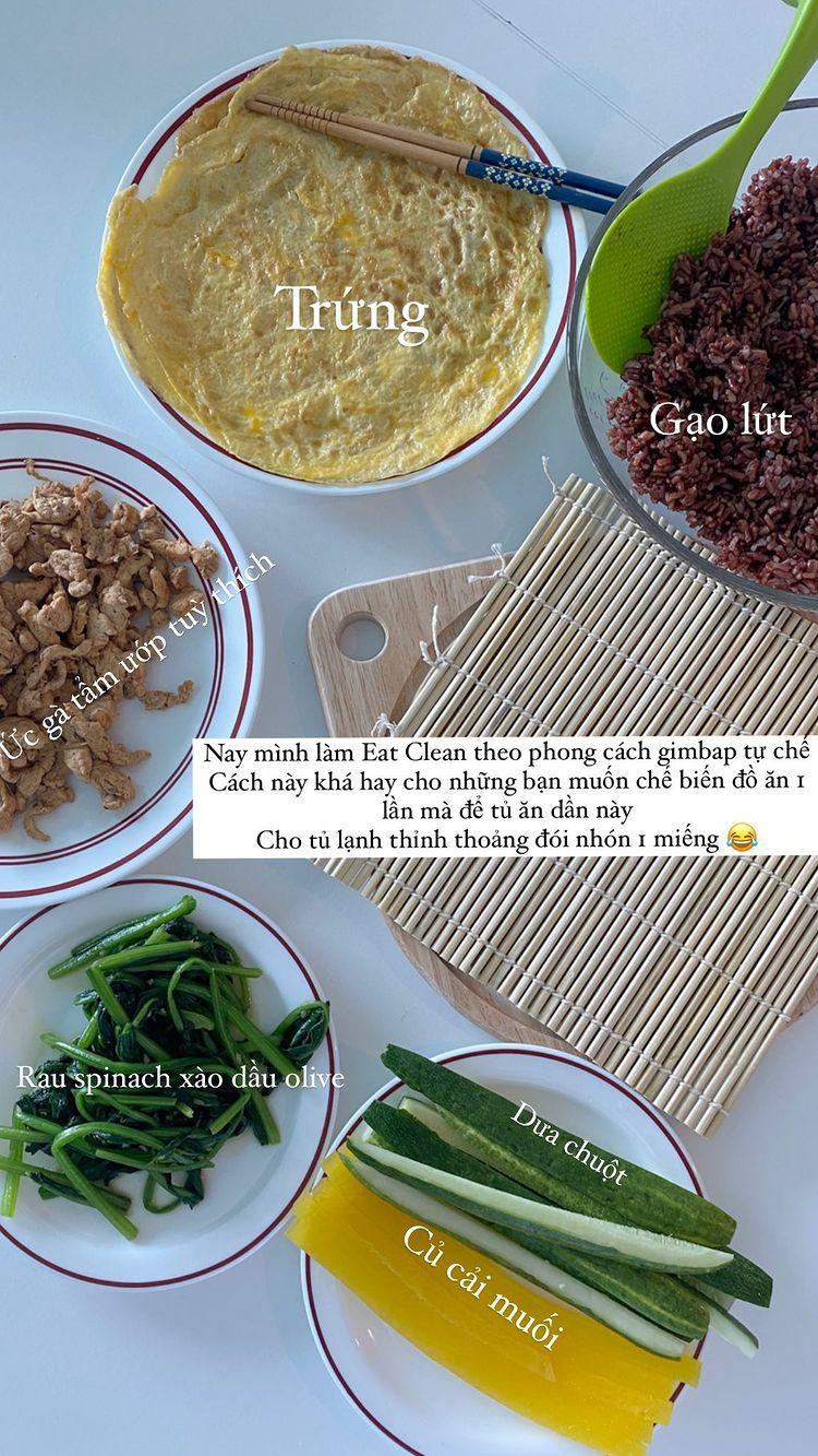 Các nguyên liệu trong món gimbap Eat Clean của Salim.
