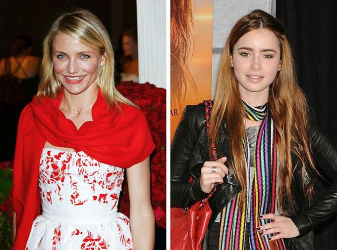 Các kiểu khănHiện nay, bạn khó có thể nhìn thấy các nghệ sĩ quàng khăn để tô điểm phong cách trên thảm đỏ như Cameron Diaz (trái) hay Lily Collins trước đây.