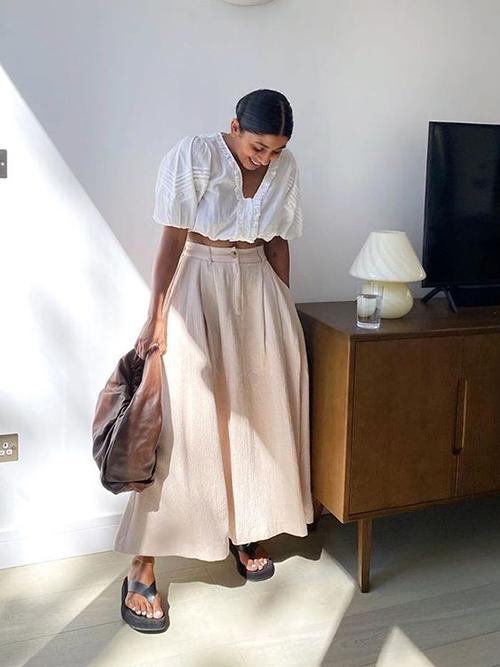 Áo hở eo vải thô cho set đồ ở nhà - 4