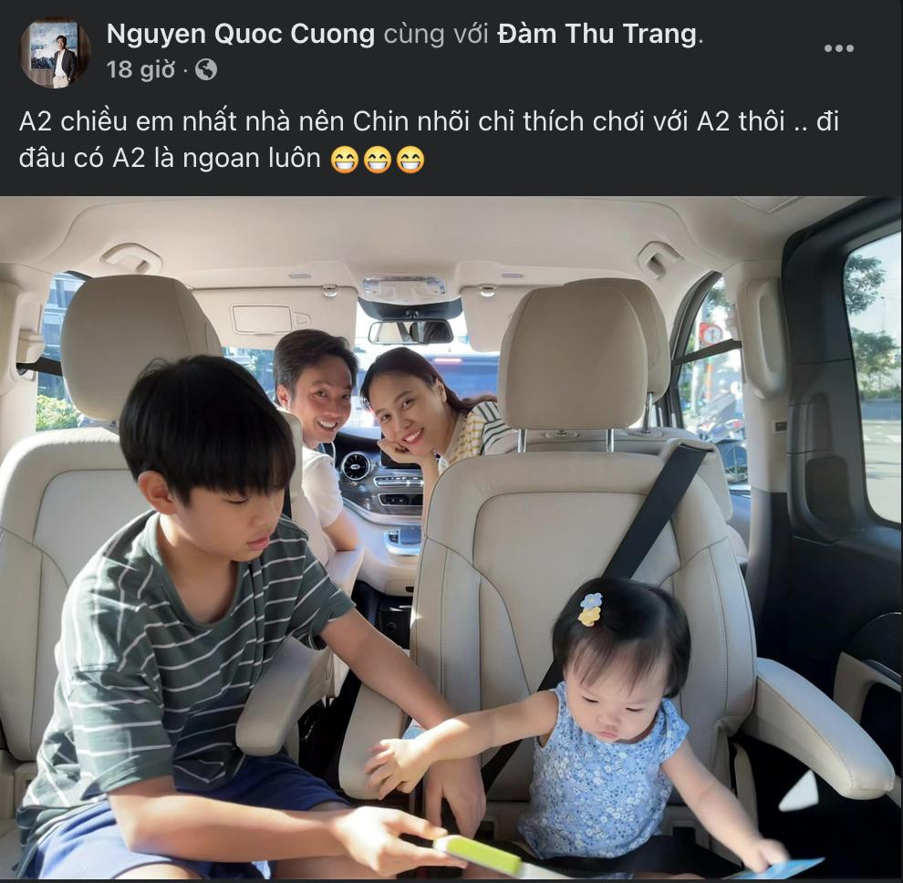 Cường Đôla chia sẻ khoảnh khắc chở gia đình đi chơi trên xe mới mua.