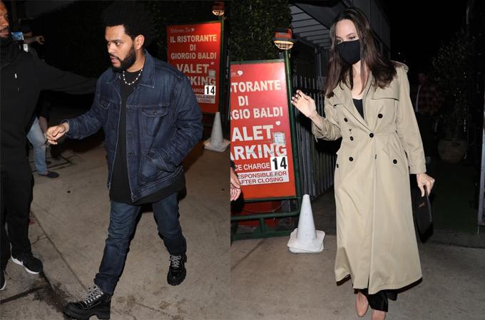 The Weeknd và Angelina Jolie rời nhà hàng Italy ở Los Angeles.