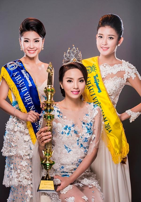 Ba ngôi vị cao nhất củaHoa hậu Việt Nam 2014thuộc về: Diễm Trang, Kỳ Duyên, Huyền My (từ trái qua),