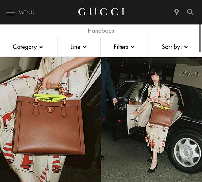 Giới người mẫu và khán giả yêu thời trang trong nước vô cùng bất ngờ khi thấy hình ảnh Phương Oanh với mẫu túi hiệu trên trang mua sắm trực tuyến chính thức của Gucci. Đây là lần đầu tiên thương hiệu này mới người mẫu Việt Nam tham gia chụp ảnh quảng bá cho sản phẩm của họ.