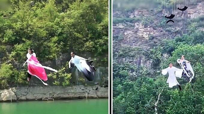Du khách bay kungfu qua sông ở Trung Quốc