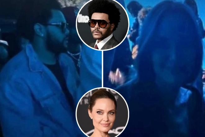 The Weeknd và Angelina Jolie tại concert ở Los Angeles.