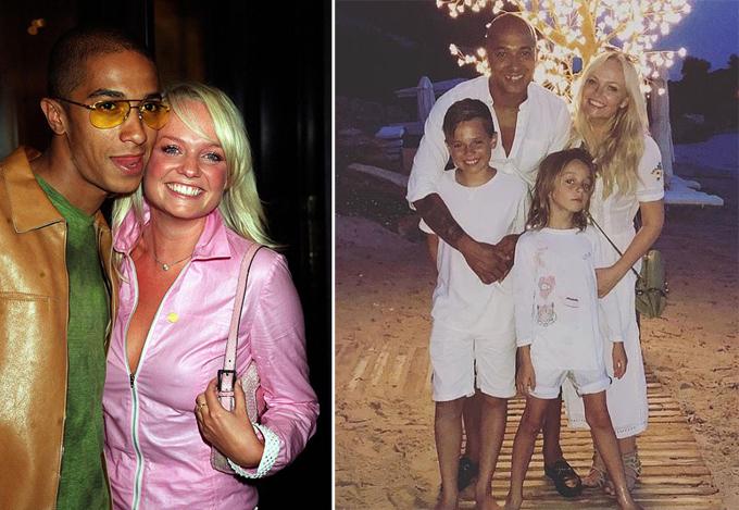 Emma và Jones thời mới hẹn hò (trái) và khi đã làm một gia đình.