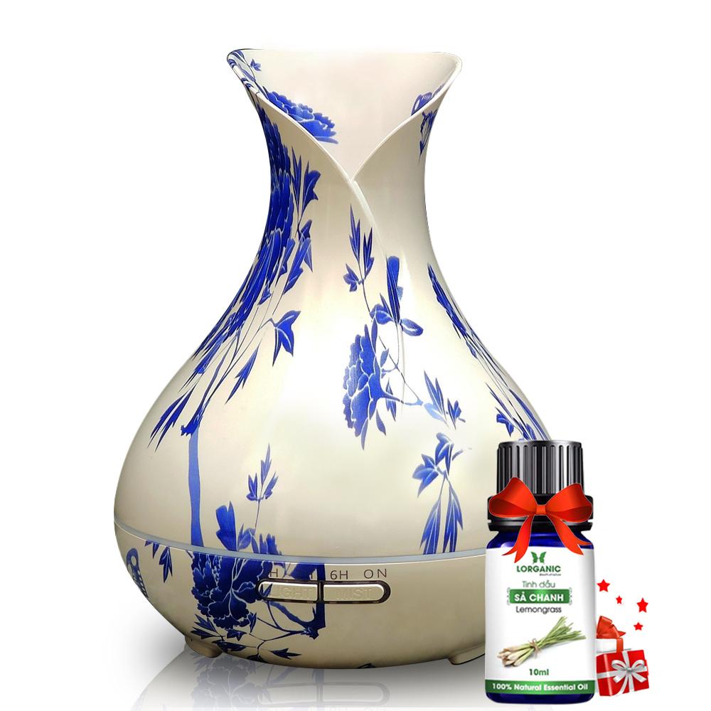 Combo máy khuếch tán, máy xông tinh dầu Lorganic tulip trắng FX2070 và tinh dầu sả chanh Lorganic (10 ml), có remote điều khiển; chất liệu là nhựa; dung tích bình chứa 550 ml. Thời gian hoạt động 10-12 giờ. Khả năng khuếch tán 40 m2.
