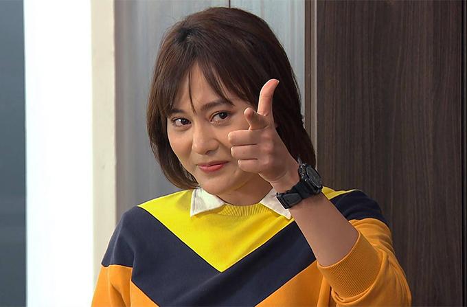Tạo hình của Phương Oanh trong vai Nam.