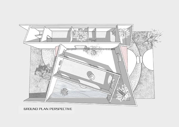 Tuy nhiên, chi phí đầu tư xây dựng có hạn, kỹ thuật thi công cửa kính khổ lớn tại địa phương bị hạn chế nên ở các ô cửa lớn không lắp kính mà xây thêm lớp tường rào bao quanh để đảm bảo an toàn và sự riêng tư. Đồng thời, các mảng tường xéo góc tạo nên góc nhìn sinh động, thú vị khi chủ nhà di chuyển, sinh hoạt bên trong.